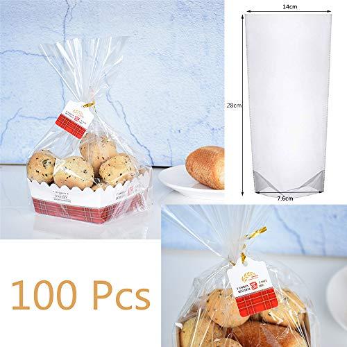 WOWOSS 100Pcs Bolsas de Celofán Transparentes Bolsas OPP Bolsas de Plástico de Caramelos para Galletas, Panadería, Dulces, Regalos (28 x 14 x 7.6 cm)