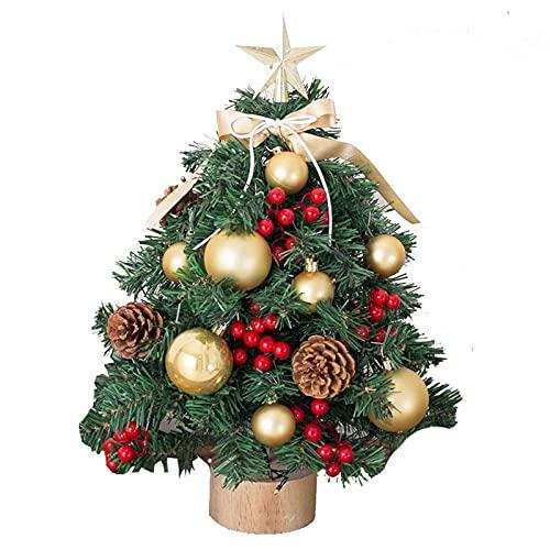GYLTFL 45cm Árbol de Navidad de Mesa, Mini Árbol de Navidad Artificial con Adornos Colgantes y Luces LED, Decor de Mesa y Escritorio de Navidad