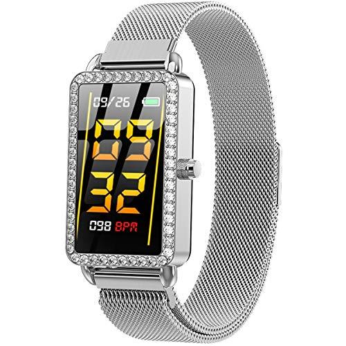 XMYL Fitness Armband, Damen Elegant Smartwatch Fitness Trackers Uhr, Wasserdicht IP67 Bluetooth Aktivitätstracker mit Pulsmesser, kompatibel mit Android IOS Smartphone,B