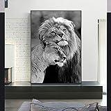 KWzEQ Pintura de Lienzo de la Familia del león Salvaje Africano pósters y Grabados de Animales en Blanco y Negro Que decoran la Sala de estar50X75cmPintura sin Marco