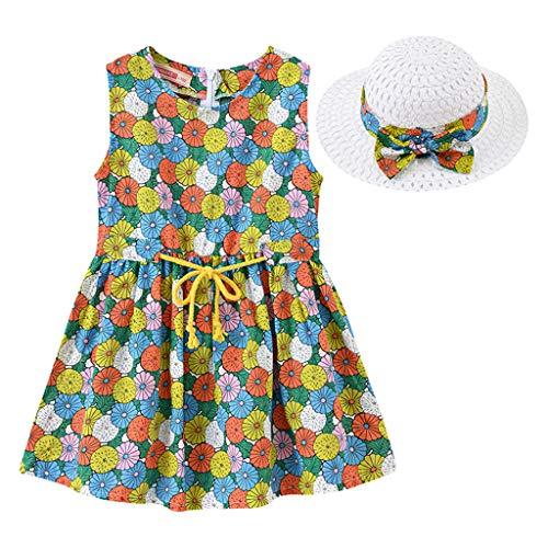 IMJONO Style de Vacances Fille Robe sans Manches Robe à Fleurs bébé Fille + Chapeau de Paille Ensemble de vêtements pour 2020 Tenue d'été pour Enfants 2-7 Ans (Multicolore,4-5 Ans