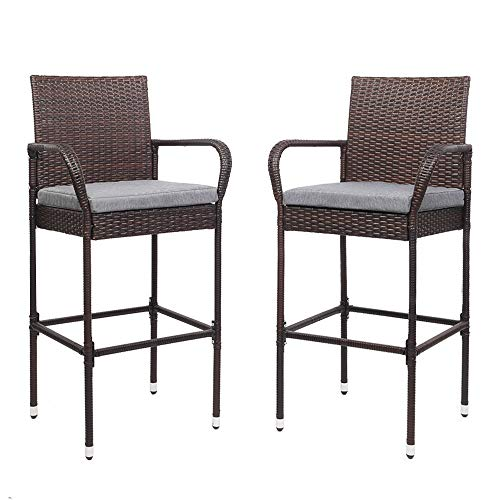 VINGLI Wicker Bar Stools Outdoor with Cushions Set of 2, Outdoor Bar Chairs Counter Height, Patio Furniture Bar stools Wicker for Garden Pool Lawn Backyard