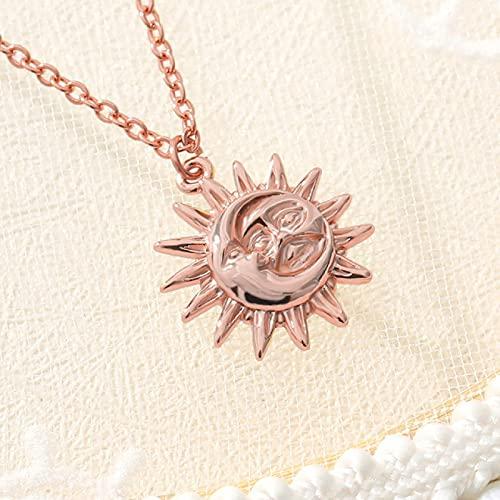 Focisa Collar Colgante Cadena Collares Hombre Mujer Collar Bohemia Luna Y Sol Collares Pendientes Collares De Acero Inoxidable Dorado Minimalista Collar De Monedas En Capas para Mujeres A