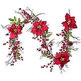 YQing 5.3 Ft Künstliche Poinsettia Weihnachten Girlande, Red Poinsettia Beerengirlande Stechpalme Deko mit Tannenzapfen und Stechpalmenblättern Beerengirlande für Urlaub Haustür Dekoration