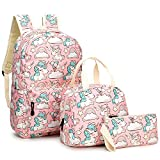 Mochila Escolar Unicornio Niña Infantil Adolescentes Sets de Mochila Backpack Casual Set con Bolsa del Almuerzo y Estuche de Lápices Rosa - Rosa