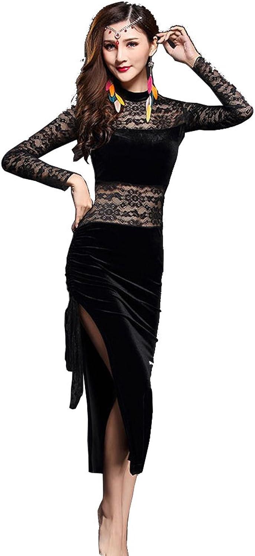 Q-JIU Belly Dance Ladies Training Lace Panel Turtleneck Dress