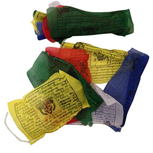 Gebetsfahnen, handgefertigt, Fair Trade, tibetisch-buddhistisch, Baumwolle, Wind-Pferde aus Nepal–25Flaggen – über 5m lang