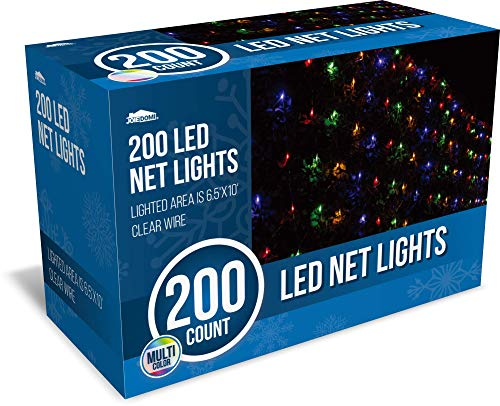 Joiedomi 200 LED Christmas Net Lights for Indoor & Outdoor Decorations, Christmas Events, Christmas Eve Night Decor, Christmas Tree, Bushes (Multi-Color)
