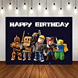 Gemten Ro-blox Birthday Party Supplies and Decorations 7X5 FT Photo Backdrop for Boy