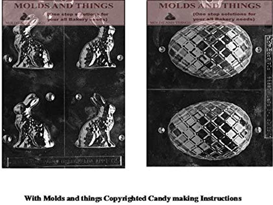 MOLDS AND THINGS Small Sitting Easter Bunny Chocolate Candy Mold Medium Lattice Egg Easter Chocolate Candy Mold With Copywrited Candy Making Instruction