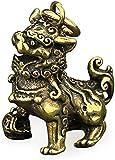 HYBUKDP Estatuas Figuras coleccionables Chinese ornaments Brass Chi Lin Kylin Riqueza Figurina Buena suerte Riqueza Colección Estatua Metal Estatua Decoración del Hogar Bronce 1.4 pulgadas Figuras Esc