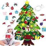 40 Piezas Fieltro Árbol de Navidad,DIY Christmas Hanging Tree Set con 50 Luces LED Adornos Árbol de Navidad para Decoración de la Pared de la Puerta del hogar Niños, decoración navideña.