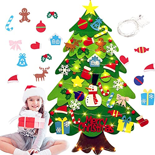 40 Piezas Fieltro Árbol de Navidad,DIY Christmas Hanging Tree Set con 50...