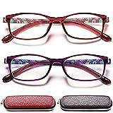 Reading Glasses Womens Blue Light Blocking - 2 Pairs Ladies Computer Readers +1.25 Lightweight...