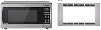 "Panasonic Microwave Oven NN-SN766S Stainless Steel Countertop, 1.6 Cubic Foot, 1250W & 30"" Microwave Trim Kit for Panasonic 1.6 cu ft Microwave Ovens – NN-TK732SS (Stainless Steel)"