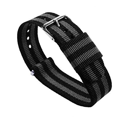 BARTON Watch Bands Uhrenarmband, Farb- und Längenauswahl (18 mm, 20 mm, 22 mm oder 24 mm), Bänder aus ballistischem Nylon, unisex, NBG18, Black/Smoke (Bond), 18mm - Standard (10