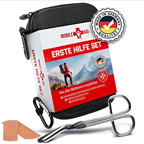 Mobile Aid Erste Hilfe Set Outdoor - Nach DIN 13167 & aus Deutschland - 30tlg. First Aid Kit + Notfallbeatmungshilfe & Hydrogelverband - Sport & Reise
