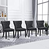 <span class='highlight'>BOJU</span> Grey Wingback Kitchen <span class='highlight'>Dining</span> <span class='highlight'>Chairs</span> <span class='highlight'>Set</span> <span class='highlight'>of</span> 4 S<span class='highlight'>of</span>t Living Room Side <span class='highlight'>Chairs</span> for <span class='highlight'>Of</span>fice Reception Lounge Comfortable <span class='highlight'>Chairs</span> <span class='highlight'>with</span> Fabric Upholstered Padded Seat Studded Nailhead Button (Dark Grey, 4)