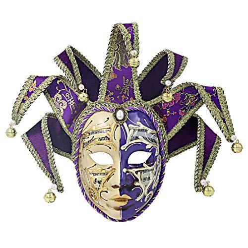 Hophen Volto Maske aus Kunstharz, venezianische Jester-Maske, Ganzgesicht, Glocke, Joker Purple and Beige