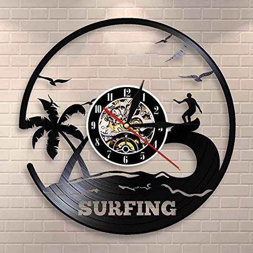 GVC Sea Waves Palms Summer Beach Wall Art Surf Reloj de Pared Surf Decoración para el hogar Surfers Disco de Vinilo Reloj de Pared Regalo para Amantes del Surf