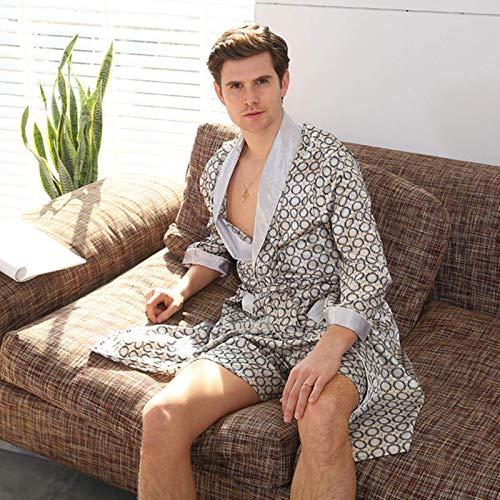 Pantalones de seda de seda de dos piezas Pantalones de pijama o pantalones cortos de albornoz sets ropa de dormir de manga larga para hombres MISU ( Color : Silver Grey 2pcs , Size : 7XL 137150 KG )