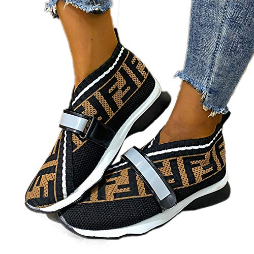 JXILY Zapatos Deportivos para Mujer Moda Azul Diseño Personalidad Inglesa Zapatos Deportivos Verano Al Aire Libre para Correr Conjuntos Pies Transpirables Boca Baja Hombres Y Mujeres Frescos,Negro,37
