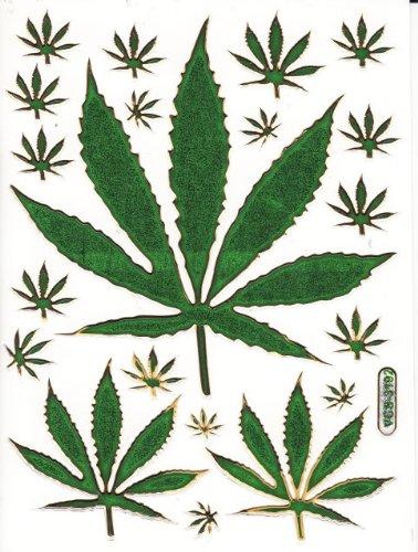 Cannabis Pflanze Aufkleber 20-teilig 1 Blatt 135 mm x 100 mm Sticker Basteln Kinder Party Metallic-Look