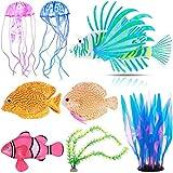 CNSJ Artificial Glowing Fish Colorful Fake Fish Artificial Fish Luminous Fake Fish Silicone Simulation Fish Ornament for Fish Tank Aquarium Decoration