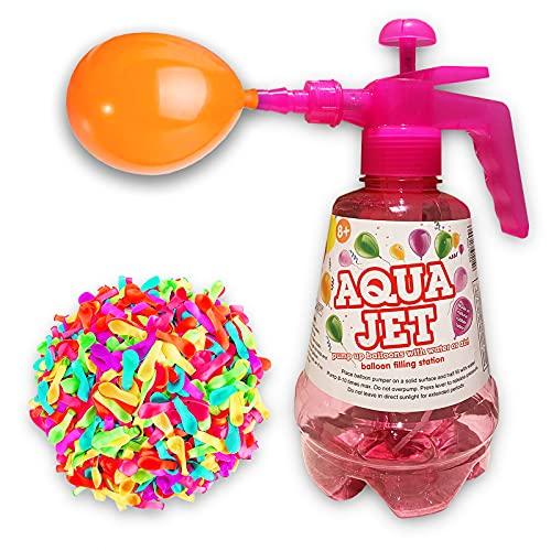 Botella con Hinchador para Globos de agua. Globos de Agua para Fiestas. Llenado fácil y Rápido. Botella de 1,5 Lts. Y 100 Globos. Juegos de agua Divertidos. Water Balloons. (ROSA)