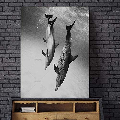 Dolphin Animal Nordic Abstract Wall Pictures para Sala de Estar Art Decoration Picture Scandinavian Canvas Painting (Sin Marco) R1 50x70CM