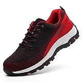 Calzado de Trabajo Zapatos de Seguridad Hombres Zapatillas de Trabajo con Punta de Acero Ultra Liviano Transpirable Anti Pinchazo Zapatos para Caminar Zapatillas de Senderismo,Red,43EU