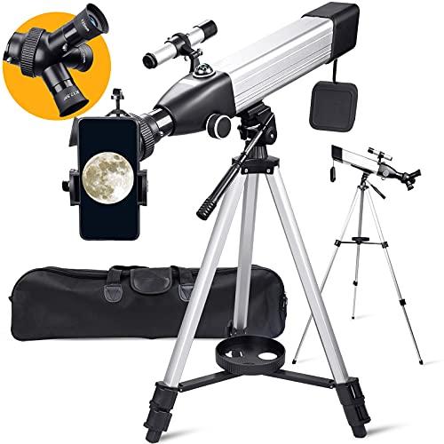 BNISE Teleskop für Erwachsene und Kinder, Anfänger, 20-fache 167-fache Vergrößerung, 60 mm Blende, 500 Astronomisches Refraktor-Teleskop, 3 drehbare Okulare, tragbares mit Stativ, Handy-Adapter