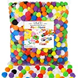 Caydo 1000 Pieces 1 inch Pompoms Arts and Crafts Pom Poms Ball for Valentine Hobby Supplies and Creative Craft DIY Material
