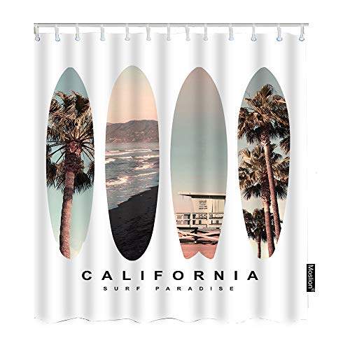 Moslion Surfboard Bathroom Curtains Beach California Palm...