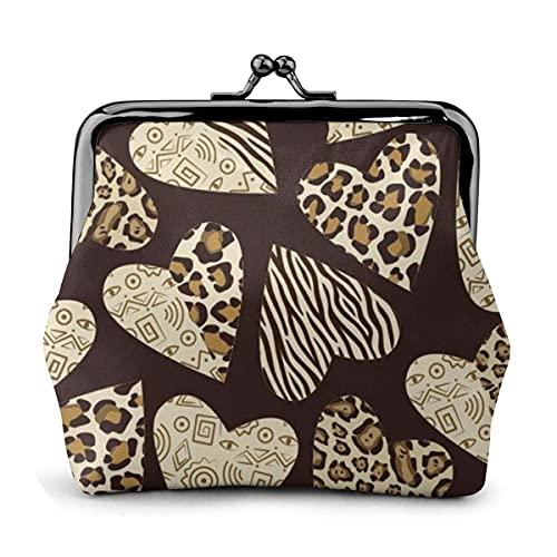 Monedero de Amor con corazón de Leopardo para Mujer, pequeño Bolso de...
