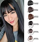 Shinon Natural Real Human Hair Flat Bangs/Fringe Hand Tied MiNi Hair Bangs Fashion Clip-in Hair Extension (Flat Bangs with Temples,Black Brown Color)