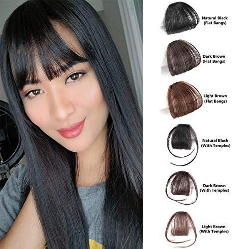 Shinon Natural Real Human Hair Flat Bangs/Fringe Hand Tied MiNi Hair Bangs Fashion Clip-in Hair Extension (Flat Bangs with Temples,Black Brown Color)