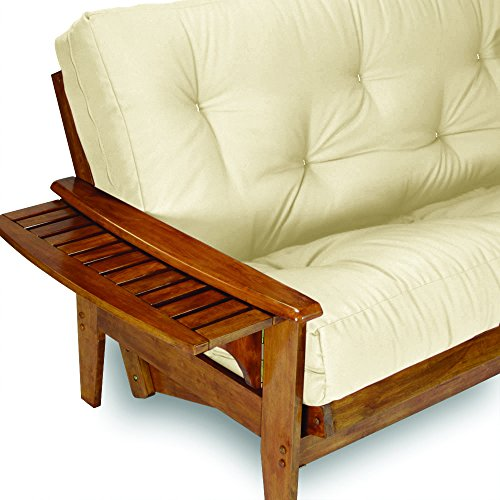"""Nirvana Futons Eastridge Futon Set - Queen Size Frame with 8"""" Mattress Included, Twill Ivory Cover (Solid Real Wood for Long Lasting Support with Functional Tray Arm)"""