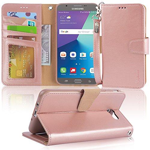Arae Case Compatible for Samsung Galaxy J7 2017 / J7 V / J7 2017 / J7 Prime / J7 Perx / J7 Sky Pro/Galaxy Halo, Wallet Case with Kickstand and Flip Cover, Rosegold