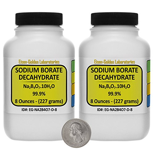 Sodium Borate Decahydrate [Na2B4O7.10H2O] 99.9% ACS Grade Powder 1 Lb in Two Space-Saver Bottles USA