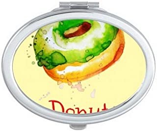 DIYthinker Watercolor Hand-Painted Green Doughnut Dessert Oval Compact Makeup Mirror Portable Cute Hand Pocket Mirrors Multicolor