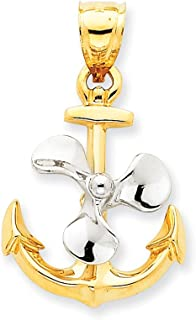 14k Yellow Gold Two-tone Anchor Moveable Propeller Pendant 34mm Length