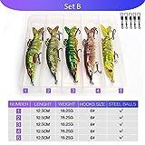 FBXYL 5Pcs Wobblers Pike Artificial Realista Señuelos De Pesca 12.5Cm 20G Multi Articulación Cebo Duro Crankbait Swimbait Aparejos De Pesca