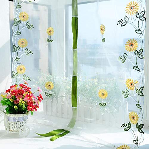 Agatige Tende Trasparenti Bianche, Tende di Sollevamento in Tulle con Ricamo Girasole per Soggiorno, Camera da Letto, Pannello per finestre(80 * 200CM)