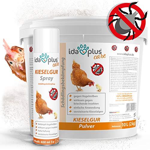 Ida Plus - Kieselgur 10 Liter & Kieselgur Spray 400 ml - Kieselerde Pulver für Hühner, Geflügel, Pferde, Kaninchen & Hunde - Diatomeenerde als Mittel gegen Vogelmilben, Ameisen, Flöhe & Insekten