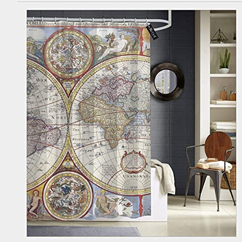 Duschvorhänge Vintage Geographie Weltkarte Duschvorhang für Badezimmer Dekor mit 12 Haken Durable Badvorhang 149,9 x 177,8 cm