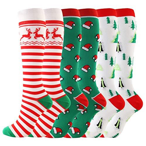 LIOOBO 3 pares de calcetines largos de compresión navideños de renos de nylon patrón de árbol de navidad calcetines hasta la rodilla medias absorbentes de sudor para correr maratón atlético