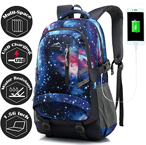 School Student Backpack Bookbag for College Business Travel with USB Charging Port Fit Laptop Up to 15.6 Inch Anti Theft(Galaxy Style)
