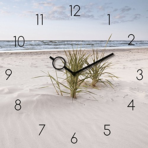 Wanduhr aus Glas, Soft Velvet Beach, Strand mit Gräsern, 30x30 cm von Eurographics