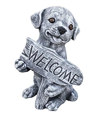 Steinfigur Hund Welcome Frostfest wetterfest massiver Steinguss